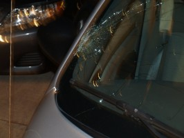 Fischer's PT Cruiser's windshield after the collision, which Fischer said she did not notice until an hour later. Click on the image for larger view. (FHP)