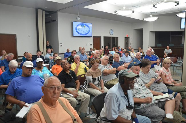 Meetings of the Palm Coast City Council rarely draw a crowd, except on rare occasions when particular issues peak interest, as was the case on Aug. 3, when the council discussed the fate of City Manager Jim Landon. But the council did not open the floor to public input. (c FlaglerLive)