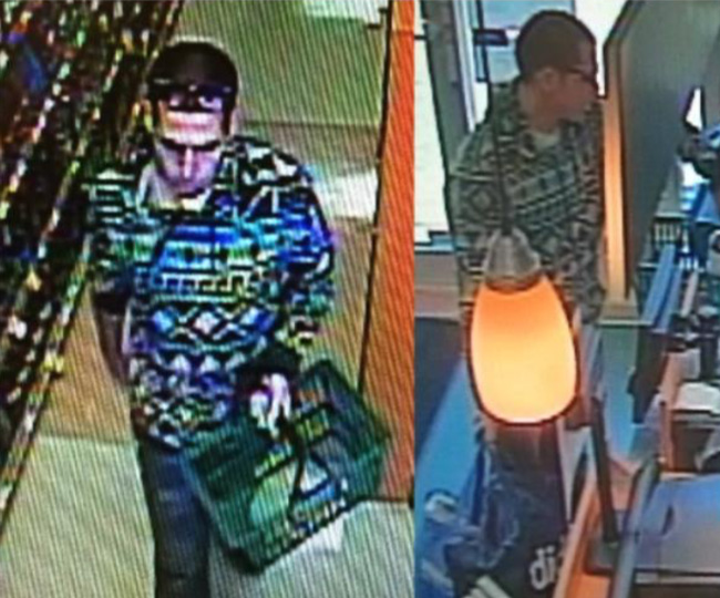 Flagler Beach police are seeking a suspect, captured on video surveillance above, who stole some $400 worth of liquor from Publix Sunday.