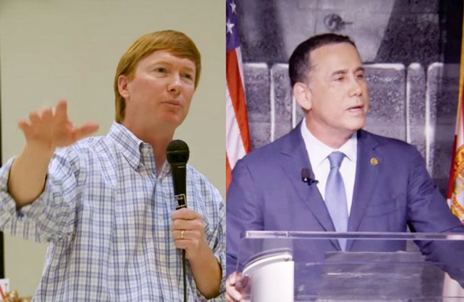 Adam Putnam, left, and Philip Levine in stills from their TV ads. (© FlaglerLive via YouTube)