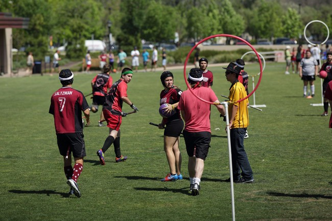 A game of quidditch in California. The once-fictional game has spread to thousands of college and university campuses, and will have its first tourney in Palm Coast this weekend. (John Loo)