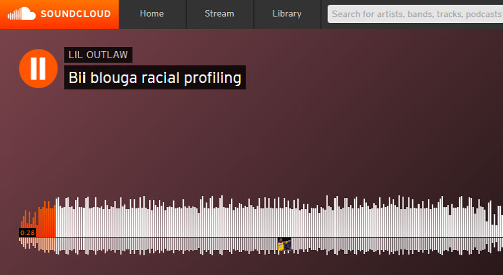 """Joseph Washington's """"Bii Blouga Racial Profiling"""" song as posted on SoundCloud. Not pictured is the Matanzas High School logo topped by an obscenity."""