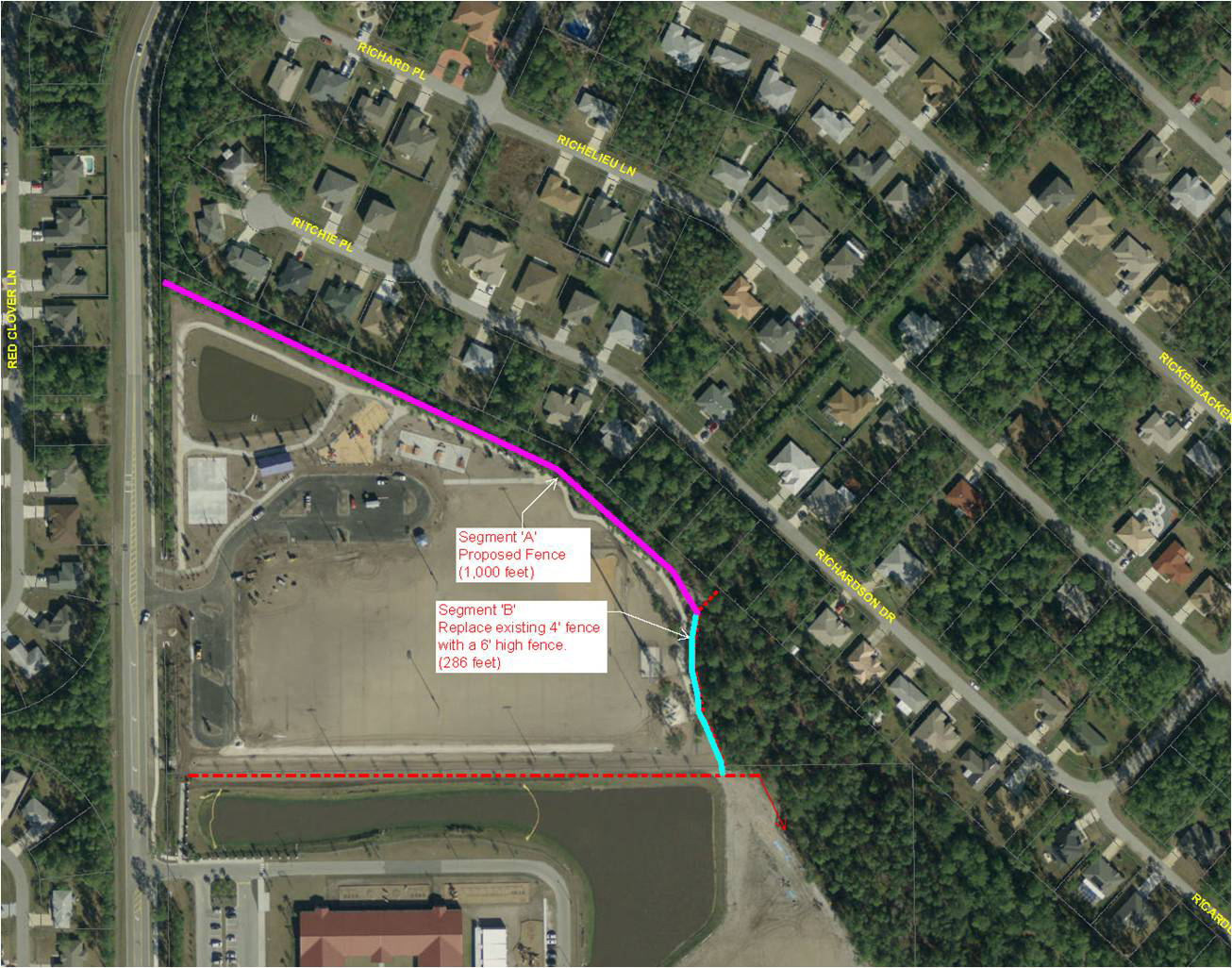 Trench warfare: Ralph Carter Park on one side, Richardson Drive on the other, with the proposed 1,000-foot fence in hot pink. Click on the image for larger view. (© FlaglerLive)
