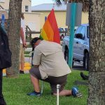 Randall Bertrand, who has a transgender son, has led the fight for LGBTQ rights in Flagler County schools since last year. He was among the marchers in an LGBTQ demonstration last Friday in Flagler Beach. (Randall Bertrand)