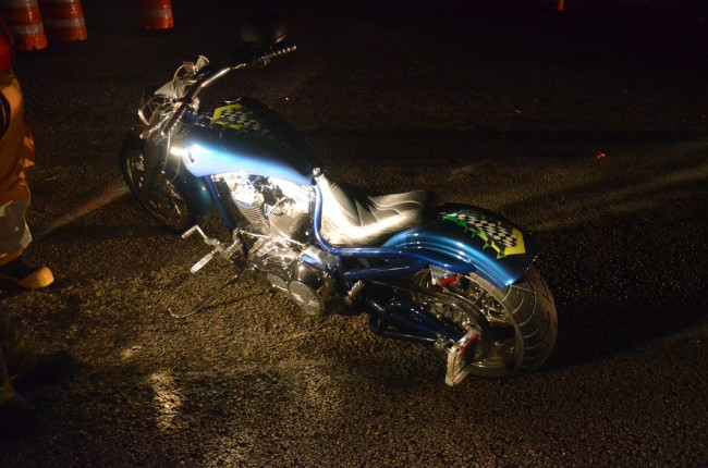 Randall Hatcher's bike. Hatcher narrowly averted being involved in the wreck. Click on the image for larger view. (© FlaglerLive)