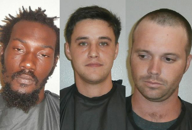 The three suspects now at the county jail: from left, Kurt Benjamin, Daniel Goggans and Charles Cowart.