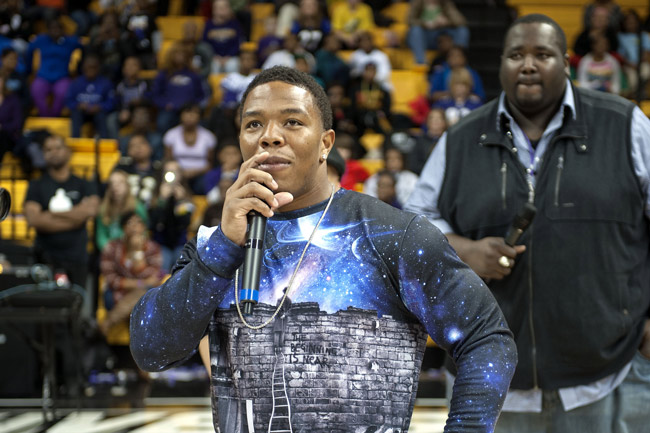 Ray Rice at an anti-bullying event in Towson, Md., last November, three months before he beat up his fiancee unconscious.