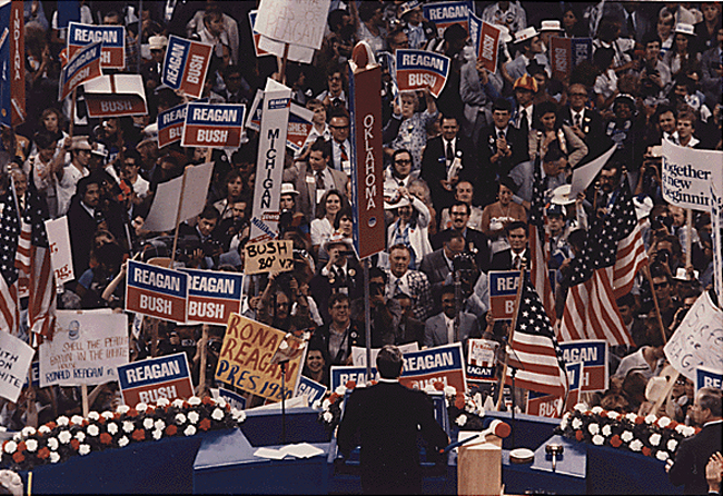 Maybe more Earl Grey than Lipton: Ronald Reagan delivering his presidential acceptance speech at the Republican National Convention in Detroit on July 17, 1980. (White House Photographic Collection)