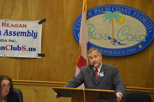 Mike McElroy speaking at a Ronald Reagan Republican Assemblies function last year. (© FlaglerLive)