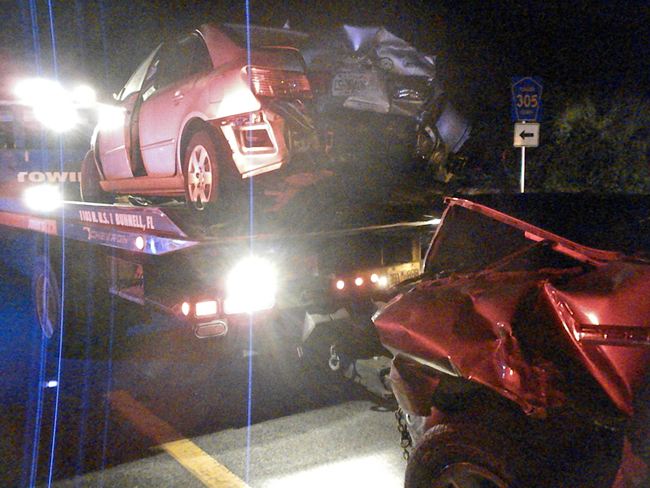 One of the two compact cars was rear-ended, catapulting it in the way of an oncoming car. (c FlaglerLive)