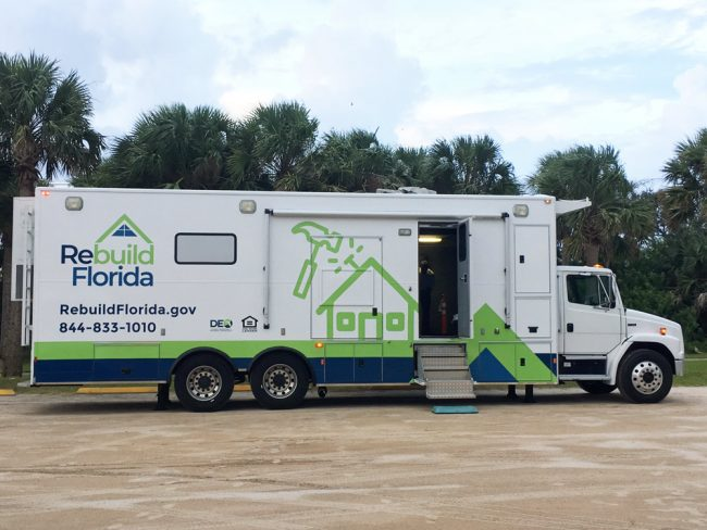 The Rebuild Florida truck is in front of the Flagler Beach Public Library through Saturday. (© FlaglerLive)