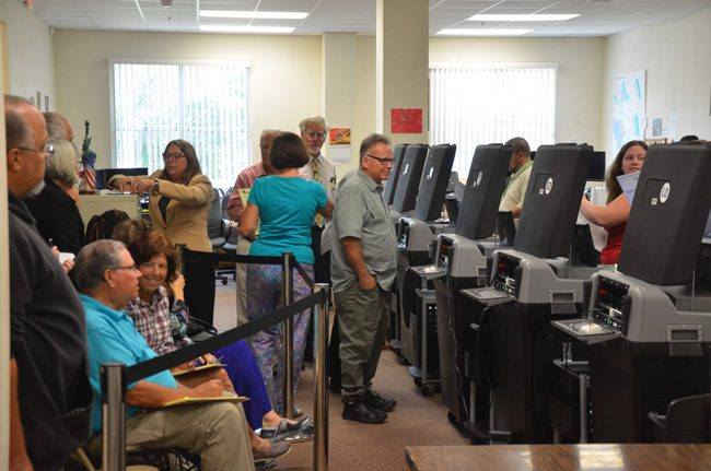 That particular picture doesn;t reflect it, but at one point during last November's recount, the Flagler Elections Supervisor's Office drew some 48 people in attendance. (© FlaglerLive)