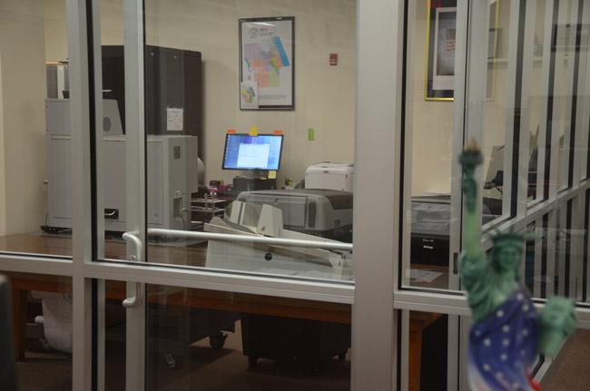 The recount machine, to the left, and other equipment to be used Sunday during the recount of three races at the Flagler County Supervisor of Elections' office. (© FlaglerLive)