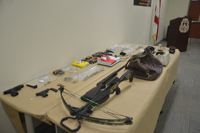 Some of the items deputies and detectives recovered or seized following recent burglaries were laid out on a table ahead of a news conference with Sheriff Rick Staly Friday. (c FlaglerLive)
