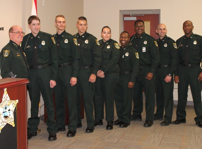 From left, Sheriff Jim  Manfre, Brad Stogdon, Leland Dawson, William Cochran, Sarah Casey, Marcus Dawson, Eric Josey, Grant Taylor and Domain Thomas.