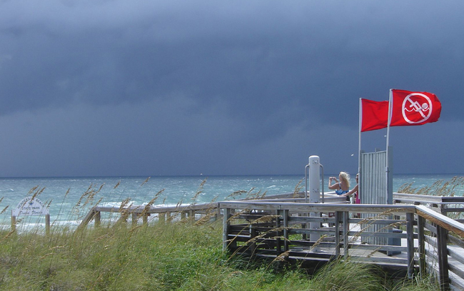 Red flags on the ocean