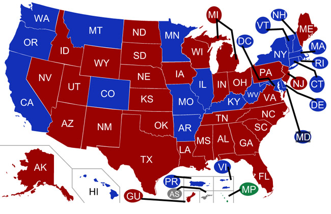 Red states have Republican governors, blue ones have Democrats as governor. (Wikipedia)