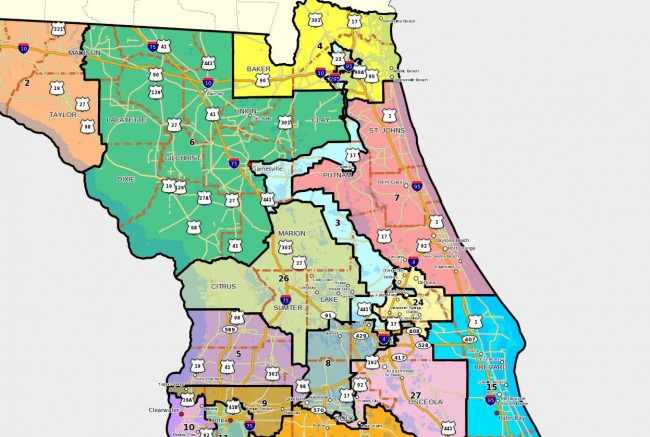 Congressional redistricting boundaries as drawn in 2011. Click on the image for larger view.