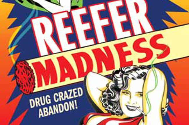 Detail from one of the posters for the 1936 propaganda film, 'Reefer Madness,' which demonizes young people who smoke marijuana.