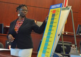 Public Defender Regina Nunnally explaining the burden of proof to the jury, which was required to convict only if it found evidence convincing beyond a reasonable doubt. Click on the image for larger view. (© FlaglerLive)
