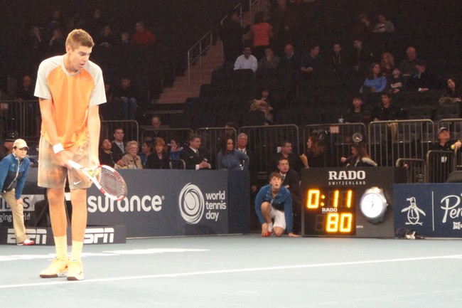 The towering Reilly Opelka, just 17, playing Madison Square Garden last spring. He's in the main draw of the USTA Pro Circuit Men's Futures Tournament that starts Friday at the Palm Coast Tennis Center. (© FlaglerLive)
