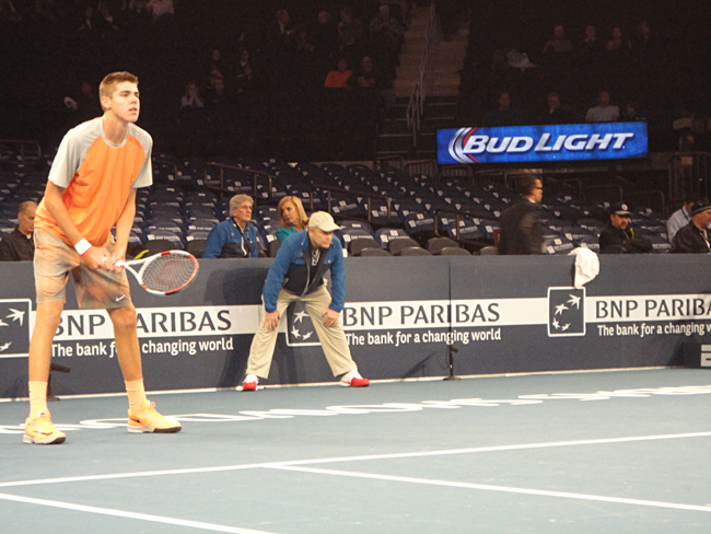 Palm Coast's Reilly Opelka made it to one of the world's premier sports arenas as he opened for Novak Djokovic and Andy Murray in an exhibition match at Madison Square Garden Monday evening. (c FlaglerLive)