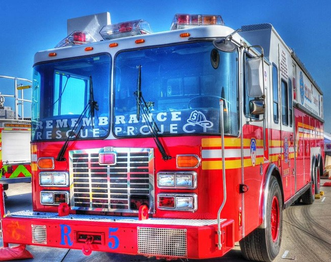 The Remembrance Rescue Project's fire truck combines parts from two trucks that were at the Twin Towers the day of the 9/11 attacks. (Remembrance Rescue Project)