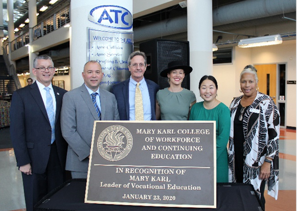 "Daytona State College renamed its College of Workforce and Continuing Education in honor of Mary Brennan Karl, founder of Volusia County's first vocational school. A formal ceremony recognizing the ""Mary Karl College of Workforce and Continuing Education"" was held Thursday, January 23, at DSC's Advanced Technology College."