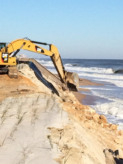 Repairs to the dunes earlier this week on State Road A1A. (© FlaglerLive)