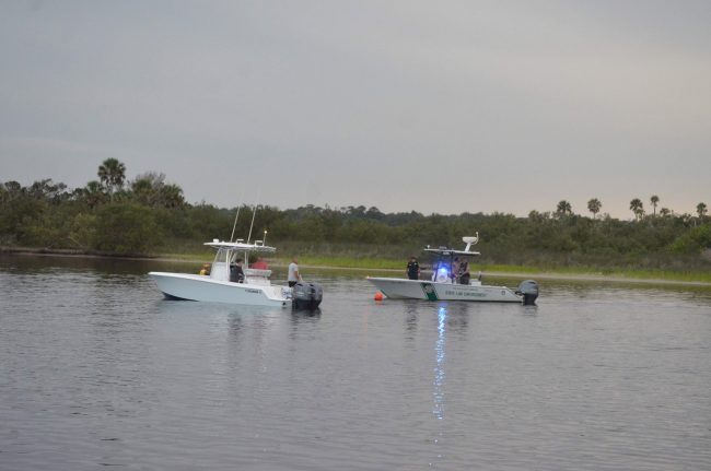 Private boaters joined the Florida Fish and Wildlife Conservation Commission officers in the search. Click on the image for larger view. (© FlaglerLive)