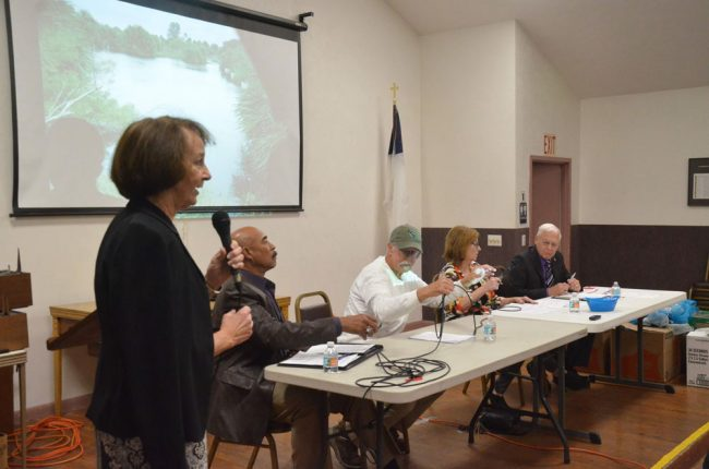 Former County Commissioner Barbara Revels moderated the Save Flagler Beach forum on Thursday. (© FlaglerLive)