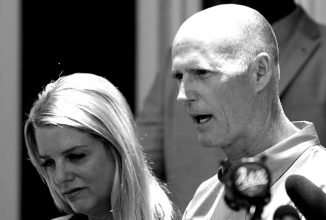 Democrats prefer Rick Scott in black and white.