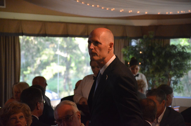 Gov. Rick Scott in full campaign mode. (© FlaglerLive)