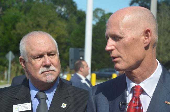 Gov. Rick Scott with Frank Meeker last November, at the dedication of the new Sheriff's Operations Center in Bunnell. (© FlaglerLive)