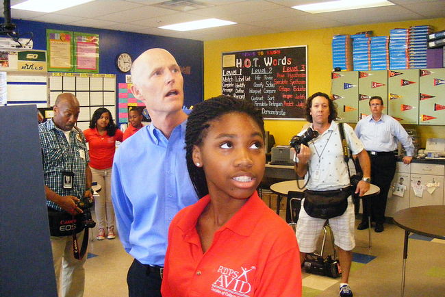 With an election on the horizon, Gov. Rick Scott is rediscovering schools. (WMNF)