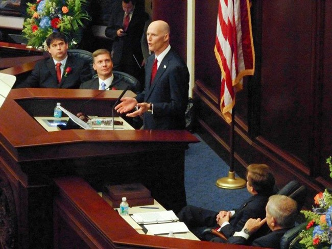Gov. Rick Scott will not be sounding like former Sen. Dan Gelber.