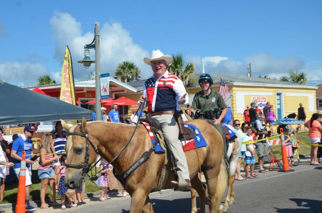 Sheriff Rick Staly was one of the few Flagler elected officials in Wednesday's Independence Day Parade in Flagler Beach <i>not</i> running for something. (© FlaglerLive)