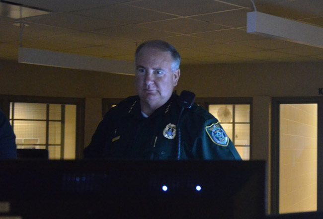 Flagler County Sheriff Rick Staly, seen here at the county jail, where about a dozen men and women are booked on domestic violence related charges every week, intends to launch an initiative to combat domestic violence. (© FlaglerLive)