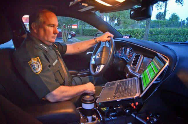 Sheriff Rick Staly on Patrol in April 2015, when he was undersheriff. (© FlaglerLive)