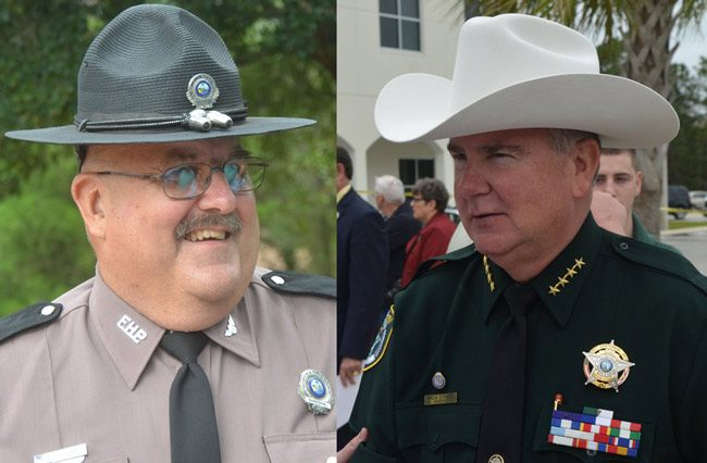 Florida Highway Patrol Cpl. Pete Young, left, and Flagler County Sheriff Rick Staly will face off, with two other, lesser-known contestants, at a competition to determine who the fastest lawman in the region is, (© FlaglerLive)