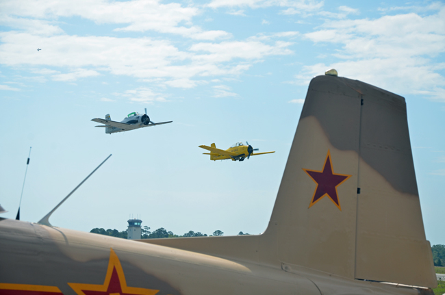 They're back: planes are rockin the runways at Flagler County Airport Friday and Saturday. (© FlaglerLive)