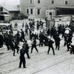Standard Oil guards confront workers in Bayonne, New Jersey, 1915. Five strikers were killed.