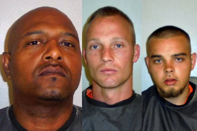 From left, Dwight Lawson, charged with armed robbery, and Frank Lawson and Roy Wood, charged with carjacking.