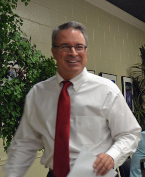The man who, with Phil DeAugustino, makes it happen every year: Roger Tangney, IB and AP coordinator and FPC's Teacher of the Year. (© FlaglerLive)