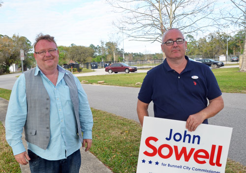 John Rogers, left, and John Sowell are now colleagues on the Bunnell City Commission. (© FlaglerLive)