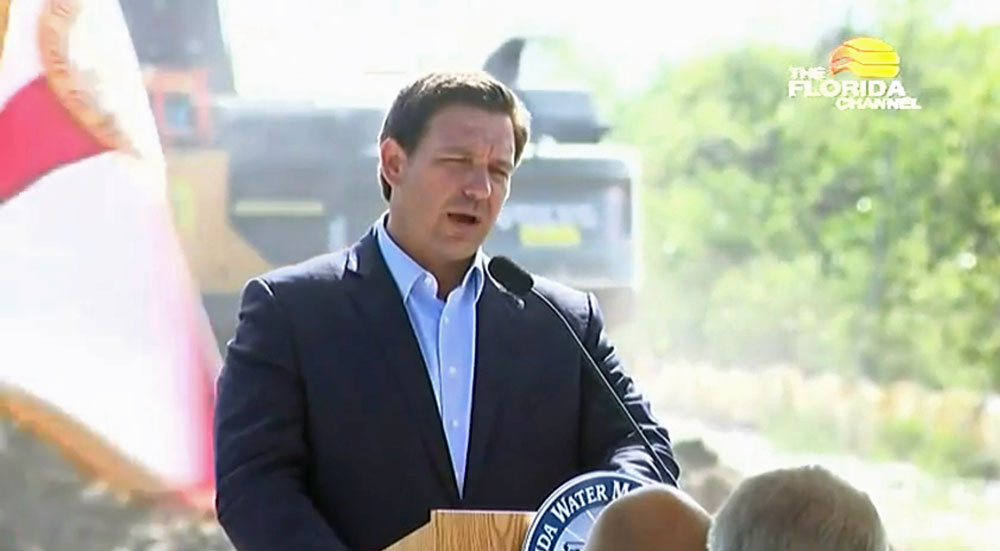 Gov. Ron DeSantis at a news conference Wednesday, in a still from a Florida Channel video.