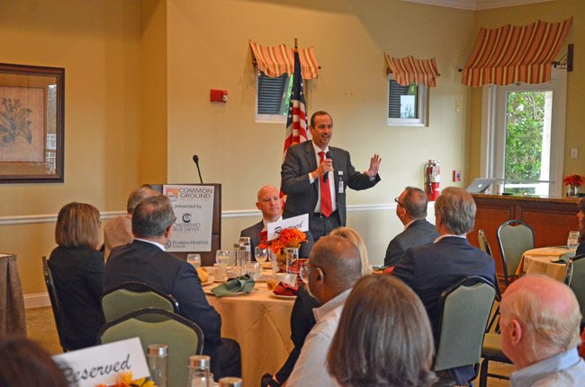 Florida Hospital Flagler CEO Ron Jimenez at this morning's Common Ground breakfast, a production of the Flagler County Chamber of Commerce. (© FlaglerLive)