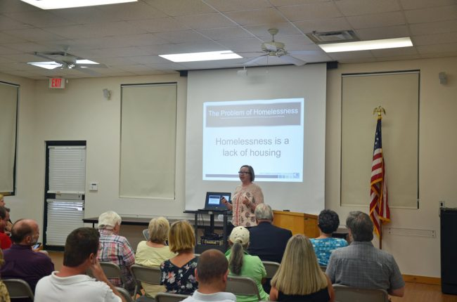 Amanda Rosado of the Florida Housing Coalition sought to dispel a few myths about homelessness at a meeting at the library today. (© FlaglerLive)