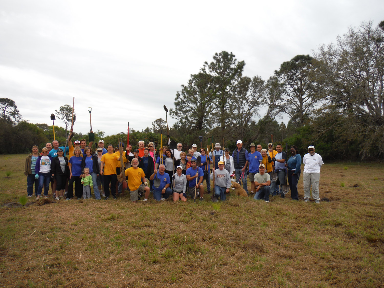 Rotarians at work: A group shot of volunteers from all three clubs. (Rotary)