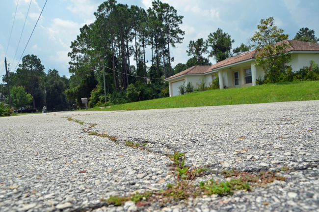 A section of Roxland Place in Palm Coast, one of four roads to be resurfaced beginning in mid-August. (© FlaglerLive)